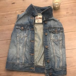 Denim jean vest with buttons